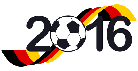 national colors: lettering 2016 with soccer ball and german national colors