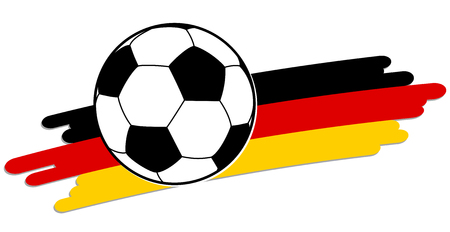national colors: black and white soccer ball with german national colors in background