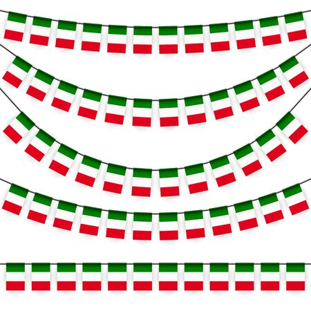 national colors: different garlands with national colors of italian flag