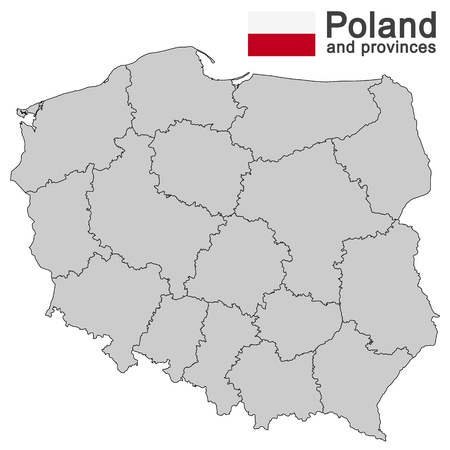 geographically: european country Poland and detailed voivodeships (provinces) Illustration