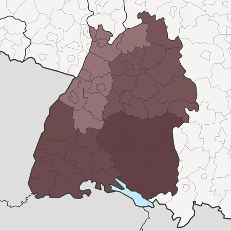 Map of Germany federal state Baden-Württemberg with neighboring federal states