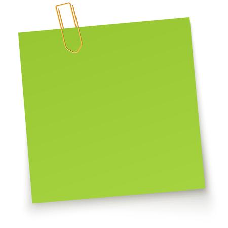 papel de notas: papelito verde con clip de papel amarillo y sombra