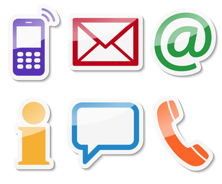 contact icon: Contact Us, set of six colored icons with white frame and shadow Illustration