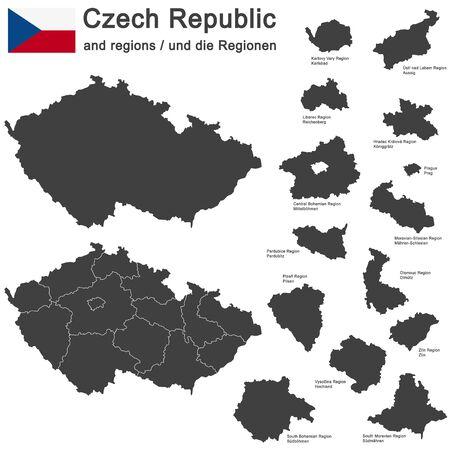 paese europeo Repubblica Ceca e le regioni dettagliate