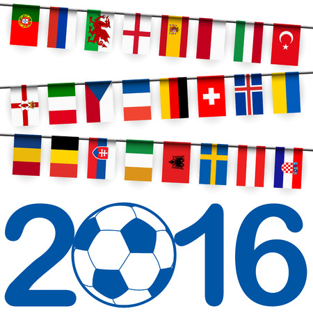 preliminary: garland with teams of france soccer game summer 2016