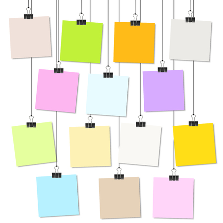 inform information: empty colored papers with binder clips hanging at black twine Illustration