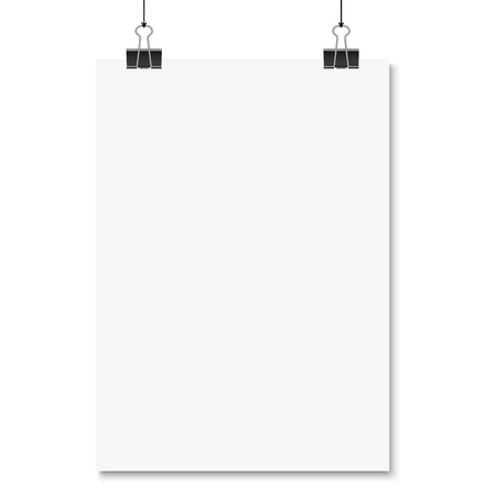 foldback: empty paper with binder clips hanging at black twine