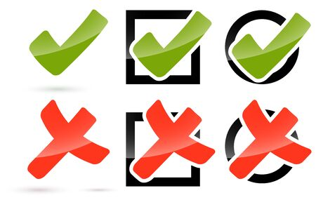 marked boxes: collection of red and green check marks and crosses to symbolize success