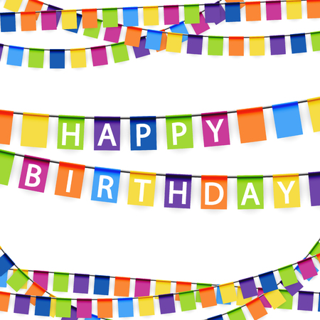 banderol: colored garlands background with white text Happy Birthday