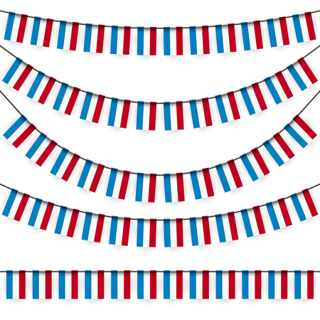national colors: different garlands with national colors of Luxembourgish flag