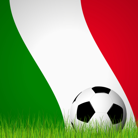 color match: soccer ball lying in the grass in front of italian flag Illustration