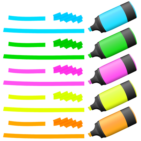 felt tip: different colored high lighters with markings for advertising usage