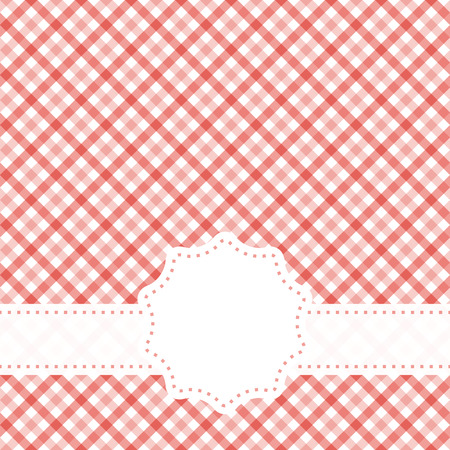 red colored checkered table cloth pattern with free banner for text Stock Illustratie