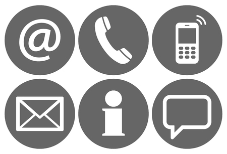 contact icons: Contact Us, set of six white icons in gray circles Illustration