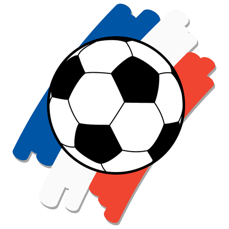 preliminary: black and white soccer ball with france national colors in background Illustration