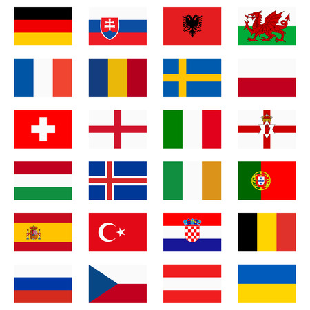 slovakia flag: flags of national teams of france soccer championship Illustration