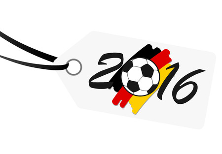national colors: hang tag with lettering 2016, soccer ball and german national colors
