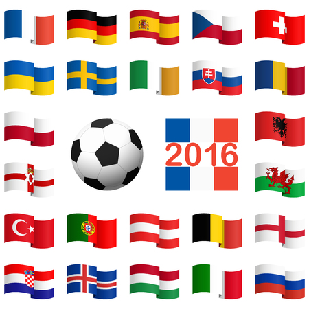 opponent: alle flags of national teams of france soccer championship Illustration