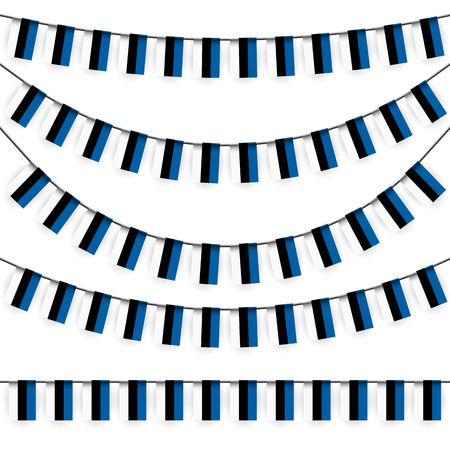 adorning: different garlands with national colors of estonian flag