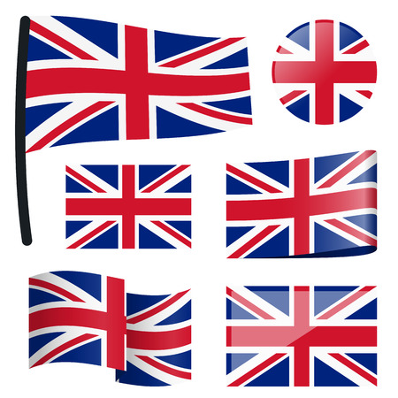 customercare: collection of different swung flags of country Great Britain
