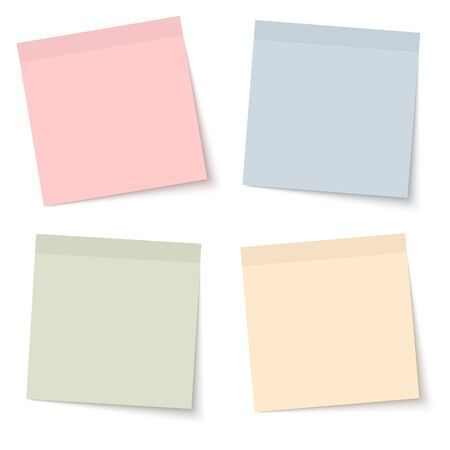chit: collection of sticky papers with shadow in four different colors