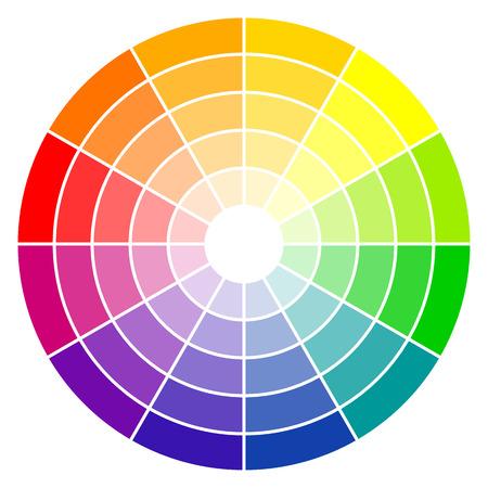 colour in: ilustración de la rueda de colores de impresión con doce colores en gradaciones