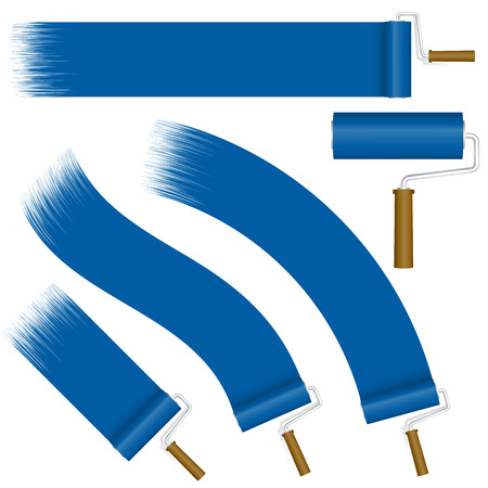 rollers: collection of paint rollers with different markings colored blue Illustration