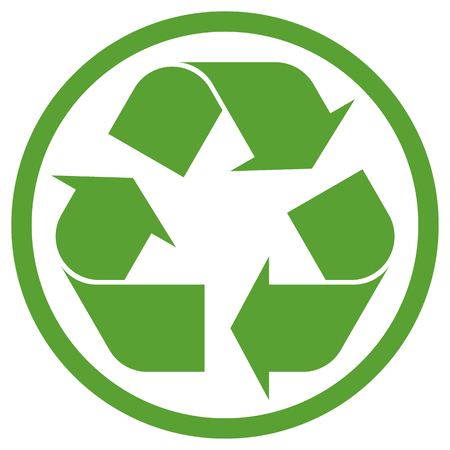 circulating: green recycling sign in circle isolated on white background