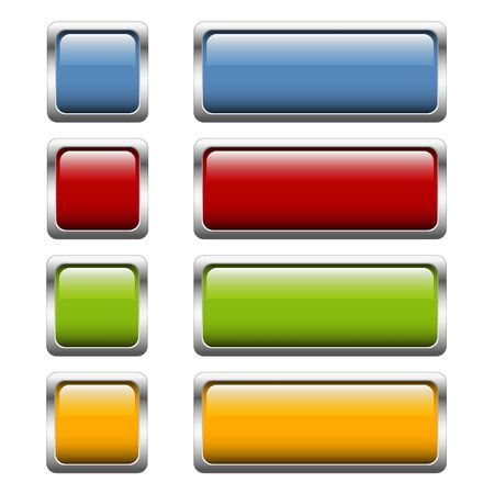 silver frame: collection of buttons with shiny silver frame in four colors Illustration