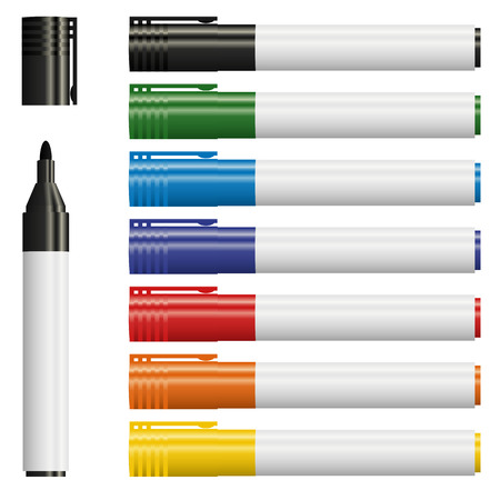 7 가지 색상의 텍스트 마커 모음 일러스트
