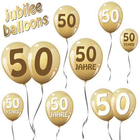 50 years jubilee: golden jubilee balloons for 50 years in english and german