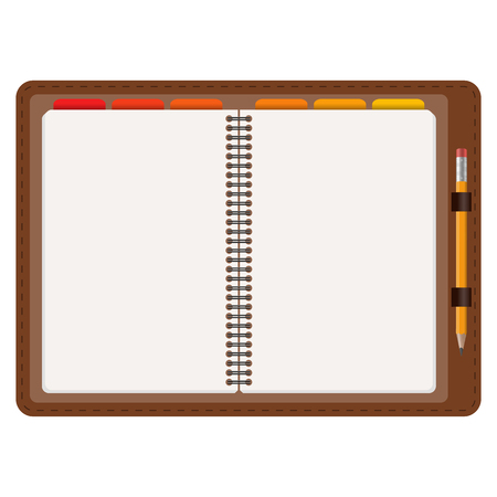 notepads: open agenda with free space and yellow pencil isolated