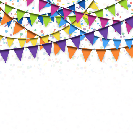 childrens birthday party: colored garlands and confetti background for party or festival usage