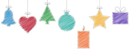 solemn: christmas background with typically hanging christmas symbols in scribble design