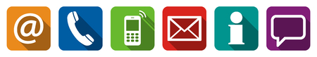 communication icons: Contact Us, set of six white icons in colored boxes