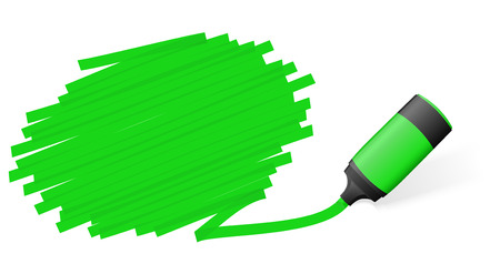 green colored high lighter with marking for advertising usage Vettoriali