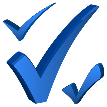 elected: collection of three dimensional check marks colored blue