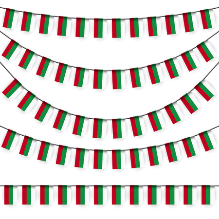 bulgarian: different garlands with national colors of bulgarian flag Illustration