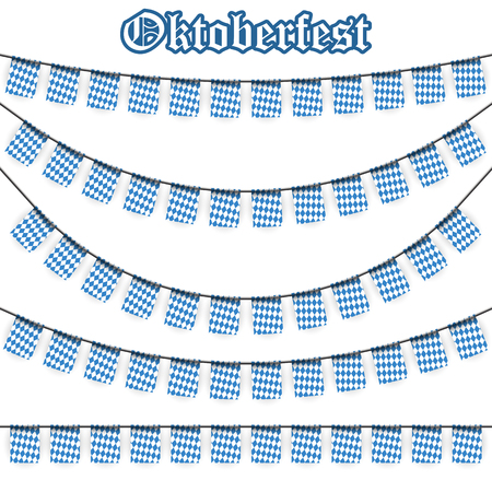 checkered pattern: Oktoberfest garlands having blue-white checkered pattern and text Oktoberfest Illustration