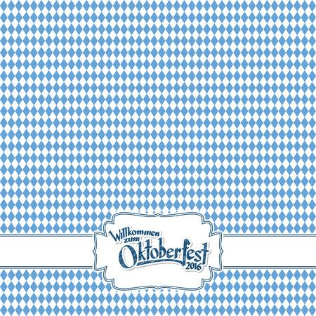 sfondo Oktoberfest con bianco-blu motivo a scacchi, banner e il testo Welcome to Oktoberfest 2016 (in tedesco) Vettoriali