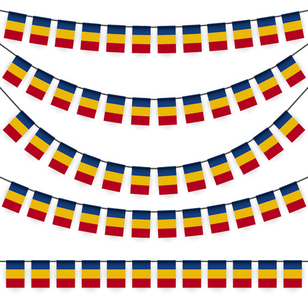national colors: different garlands with national colors of romanian flag