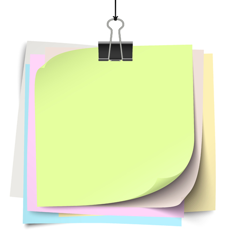 foldback: empty colored little papers with binder clip hanging at black twine