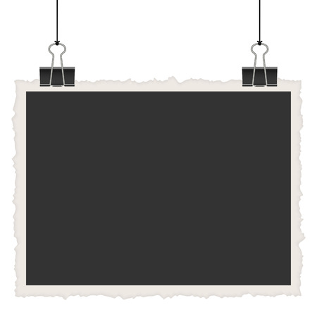 free image: old empty photo with binder clips hanging at black twine Illustration