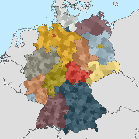 geographically: colored map of Germany with neighboring countries