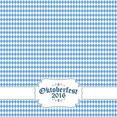 Oktoberfest background with blue-white checkered pattern, banner and text Oktoberfest 2016