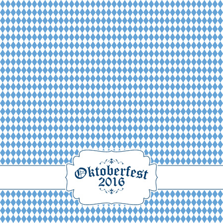 Oktoberfest background with blue-white checkered pattern, banner and text Oktoberfest 2016
