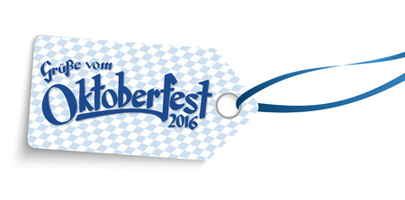 hangtag: hangtag with blue white checkered pattern and text greetings from Oktoberfest 2016 (in german)