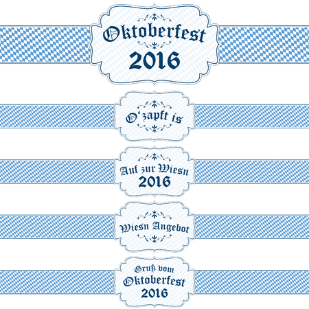 table decor: five different blue and white Oktoberfest 2016 banners with text (in german)