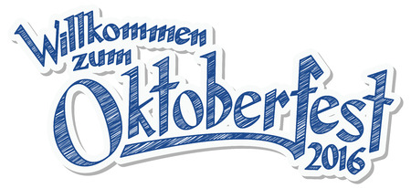 blue plaque: blue and white header with scribble pattern and text Welcome to Oktoberfest 2016 (in german)