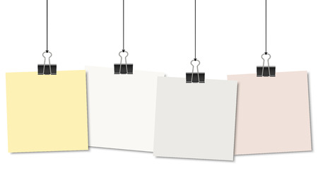 foldback: empty colored papers with binder clips hanging at black twine Illustration
